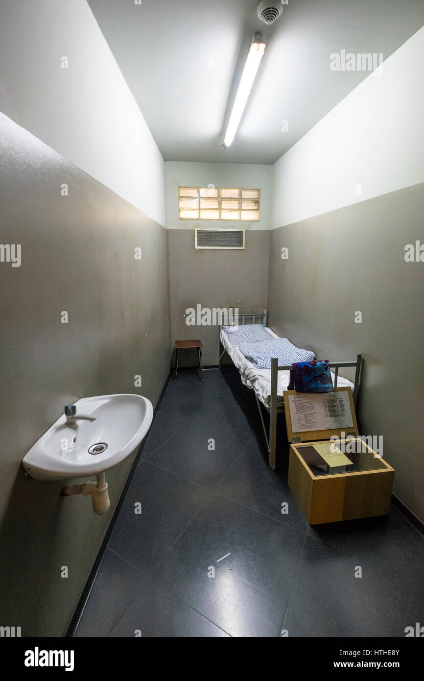 Prison Cell on display at DDR Museum, showing life in former East Germany,  in Mitte Berlin, Germany - Stock Image