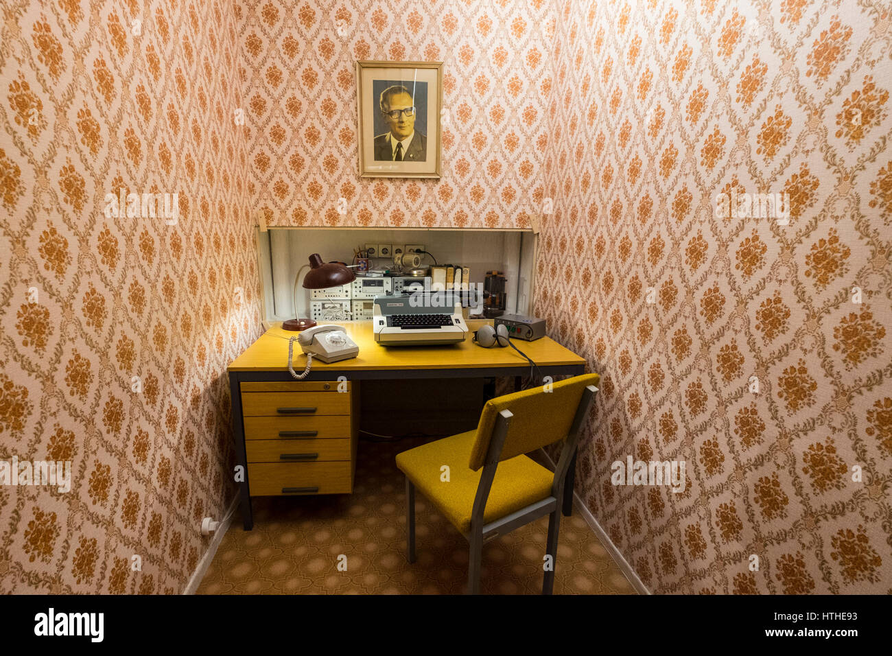 STASI listening station on display  at DDR Museum, showing life in former East Germany,  in Mitte Berlin, Germany - Stock Image