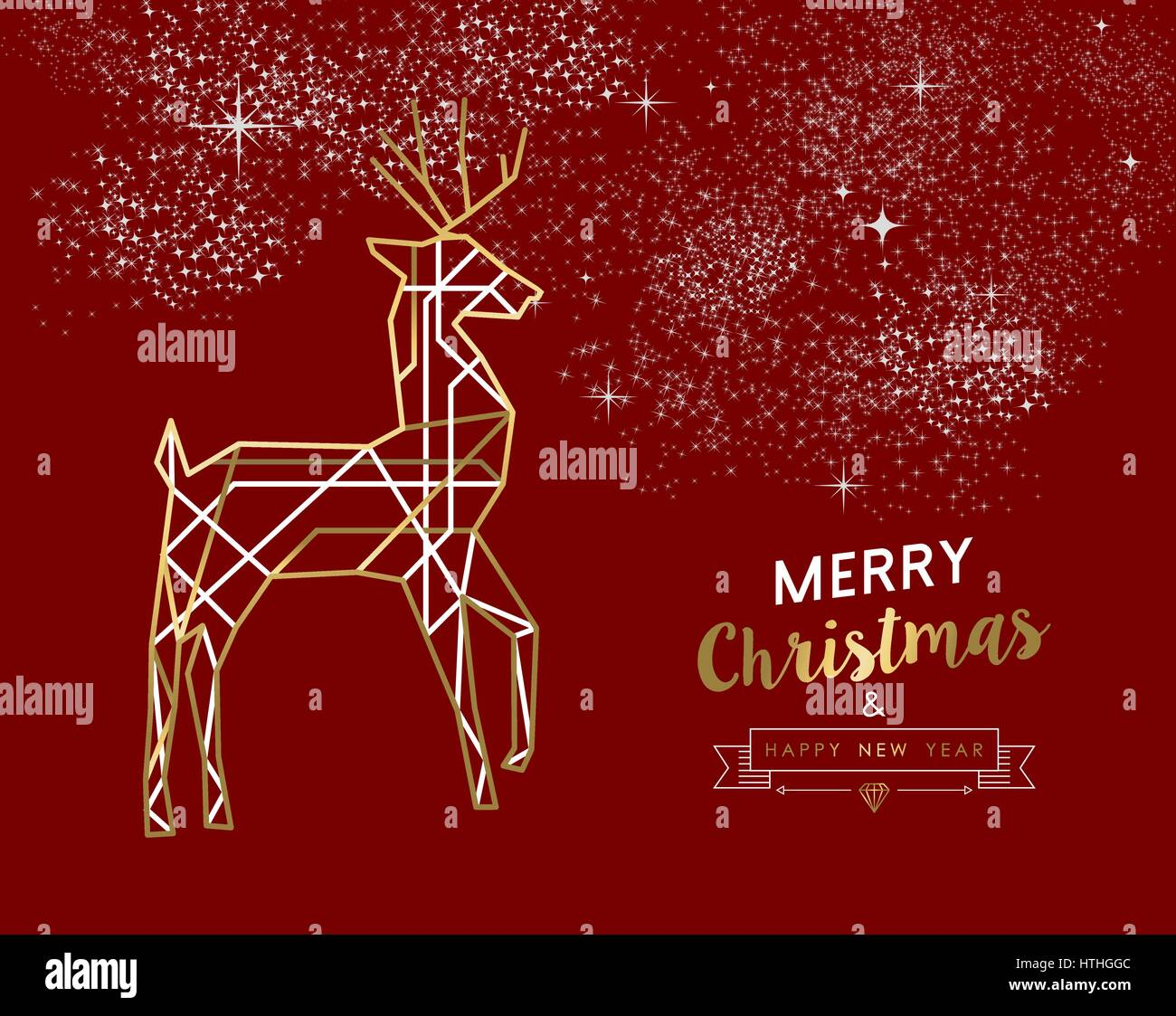 Merry christmas happy new year gold and red deer in outline art deco merry christmas happy new year gold and red deer in outline art deco style ideal for holiday greeting card xmas poster or web eps10 vector m4hsunfo