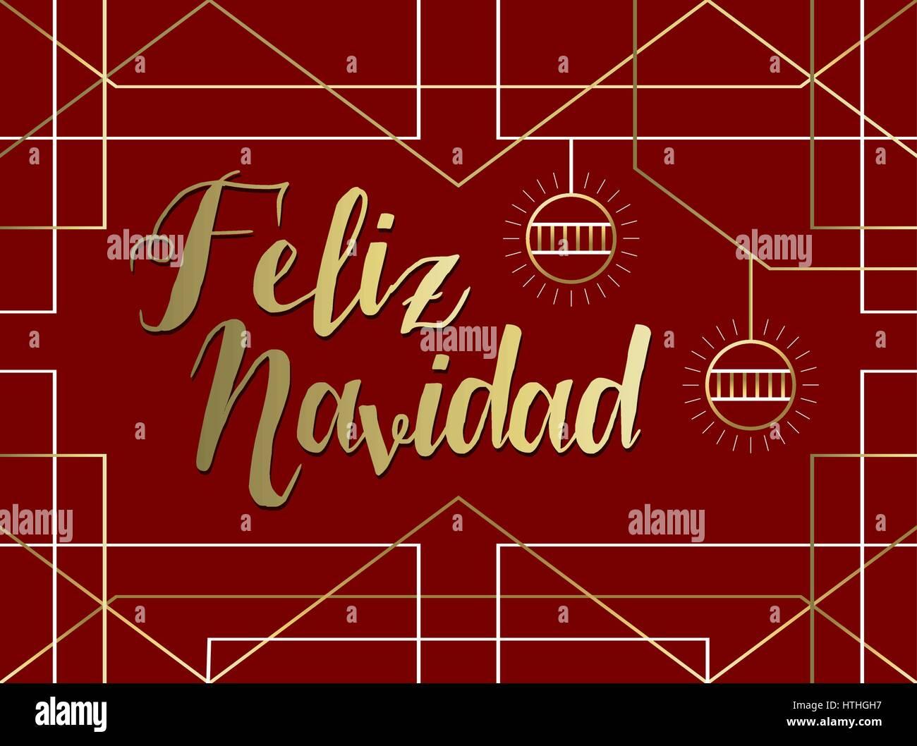 Greeting card in spanish stock photos greeting card in spanish merry christmas greeting card in spanish language feliz navidad gold art deco geometry style with m4hsunfo