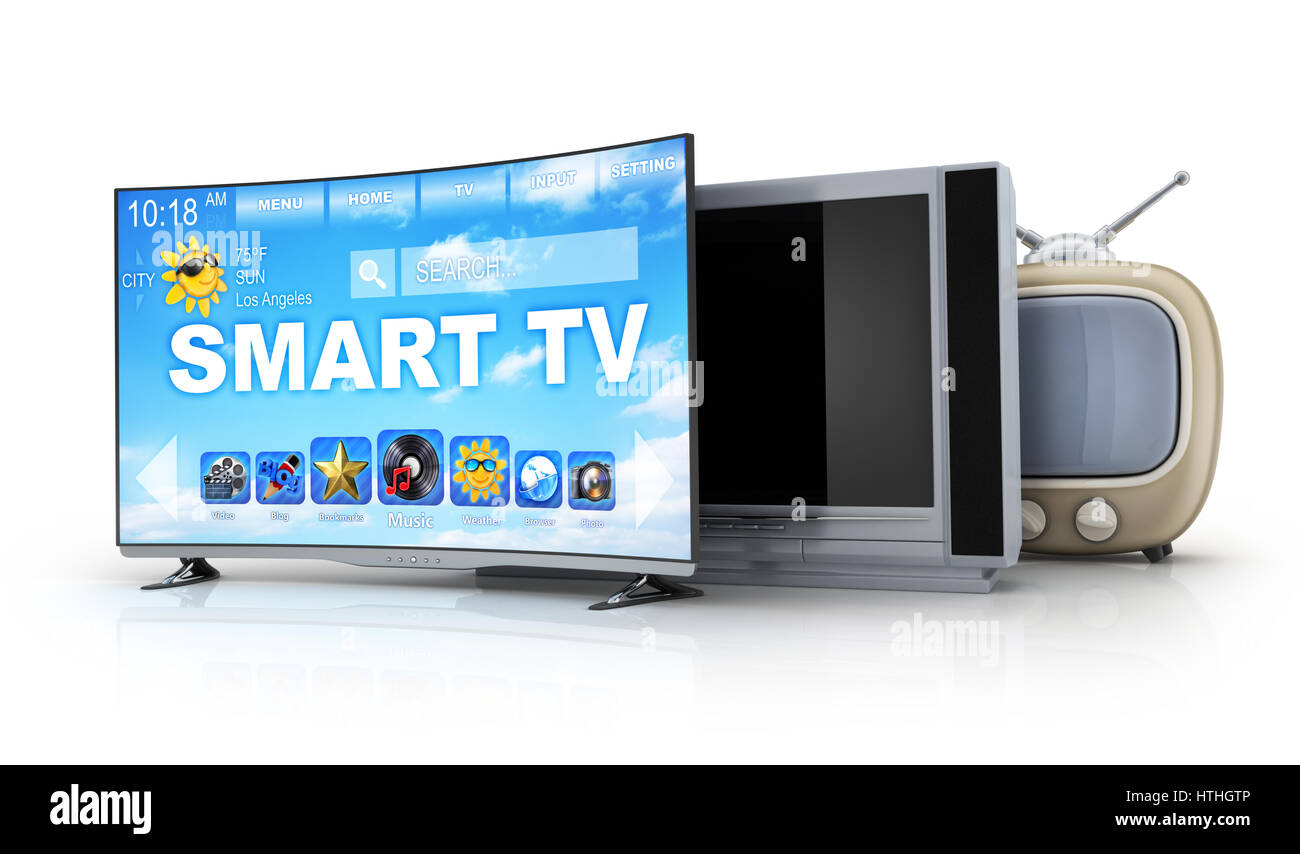 Three TV evolution on white background. Old and modern. 3d illustration Stock Photo