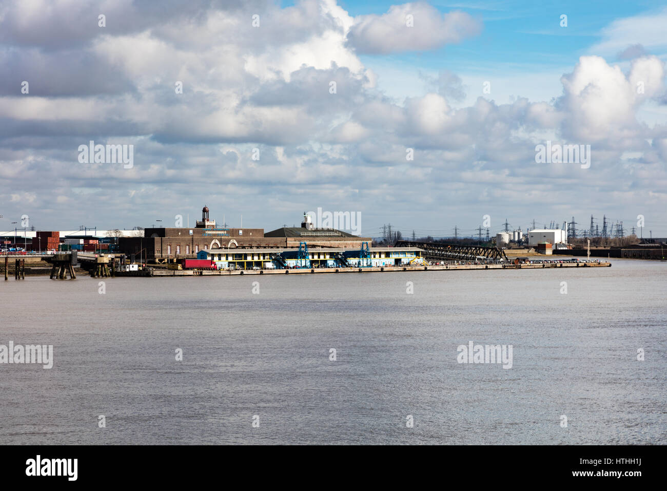London International Cruise Terminal on the River Thames at Tilbury, viewed from Gravesend in Kent, UK - Stock Image