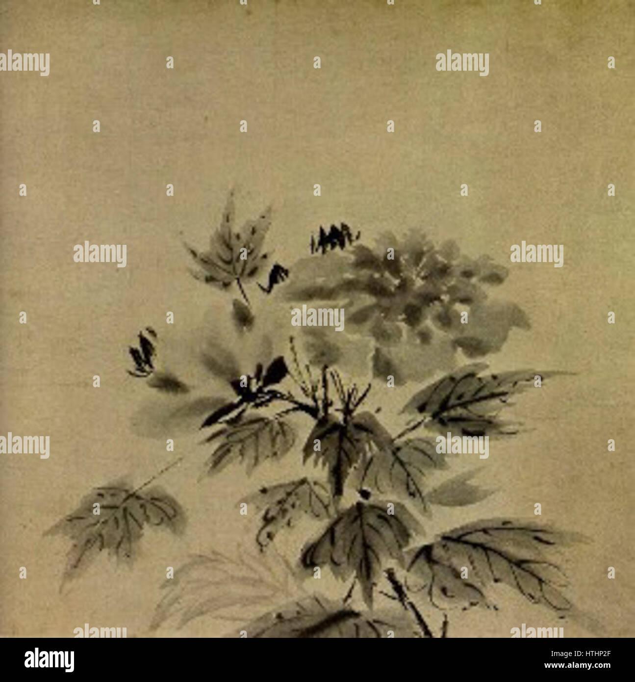 Hibiscus attributed to Muqi (Daitokuji) - Stock Image