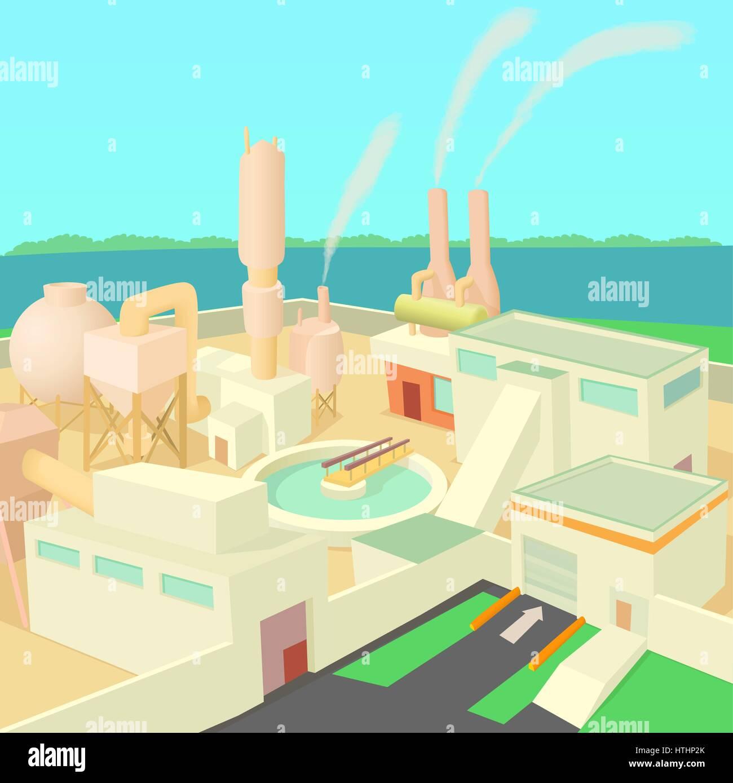 Industrial factory concept. Cartoon illustration of industrial factory vector concept for web - Stock Vector