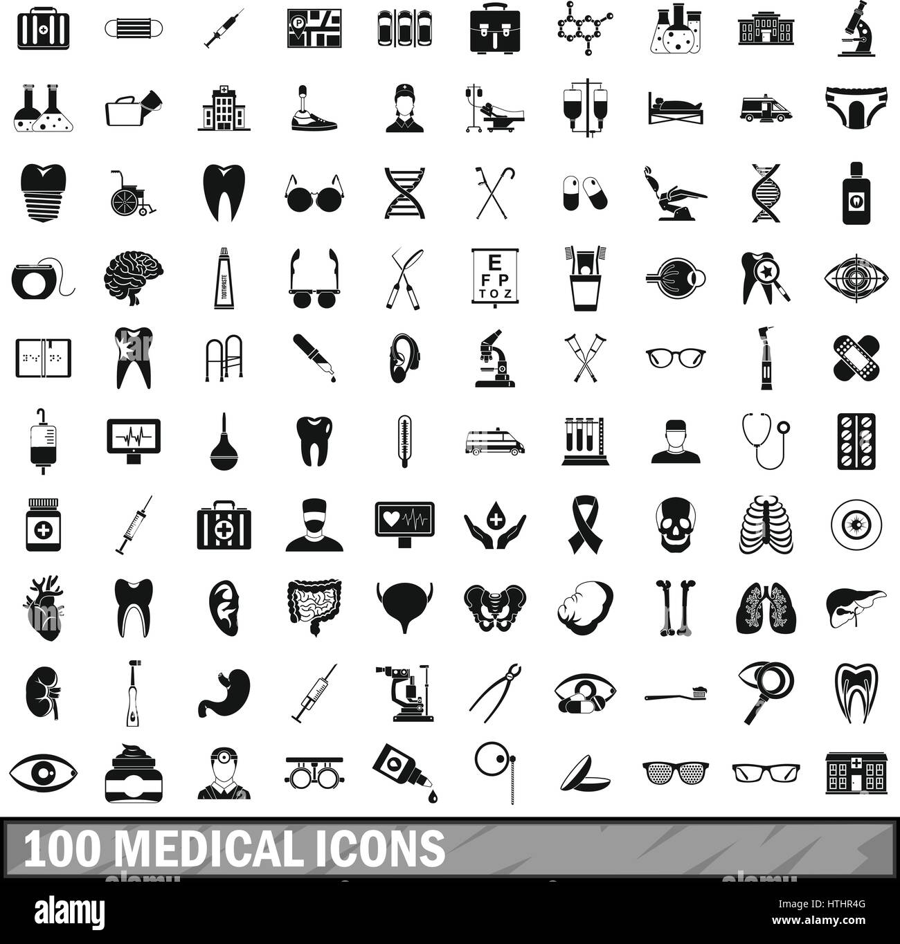 100 medical icons set in simple style for any design vector illustration Stock Vector