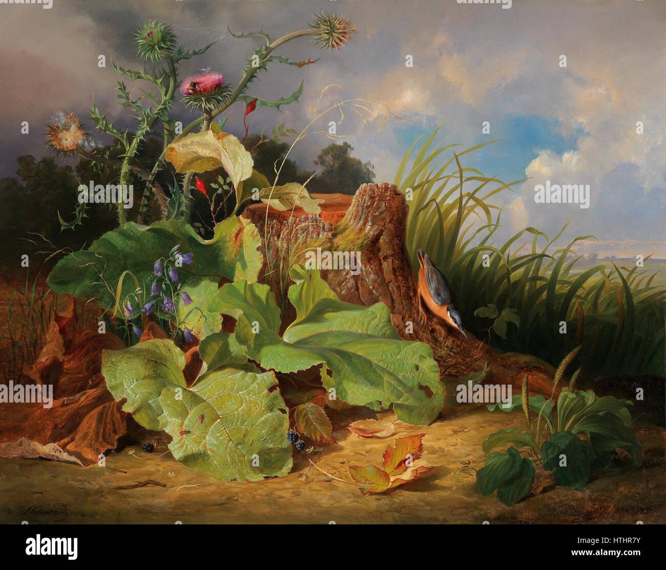 Joseph Schuster Stillleben mit Stillleben mit Disteln Glockenblumen Hagebutten und einem Kleiber Stock Photo