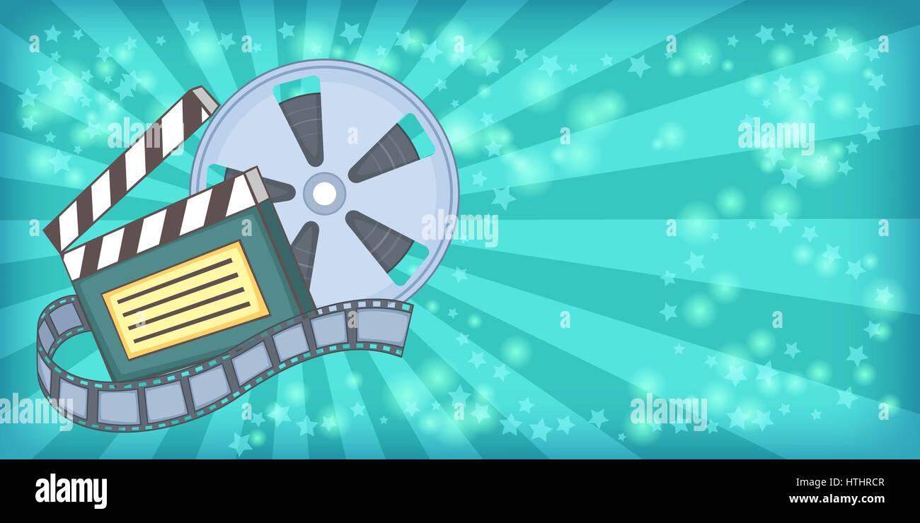Cinema Movie Horizontal Banner Concept Reel Cartoon Illustration Of Vector For Web