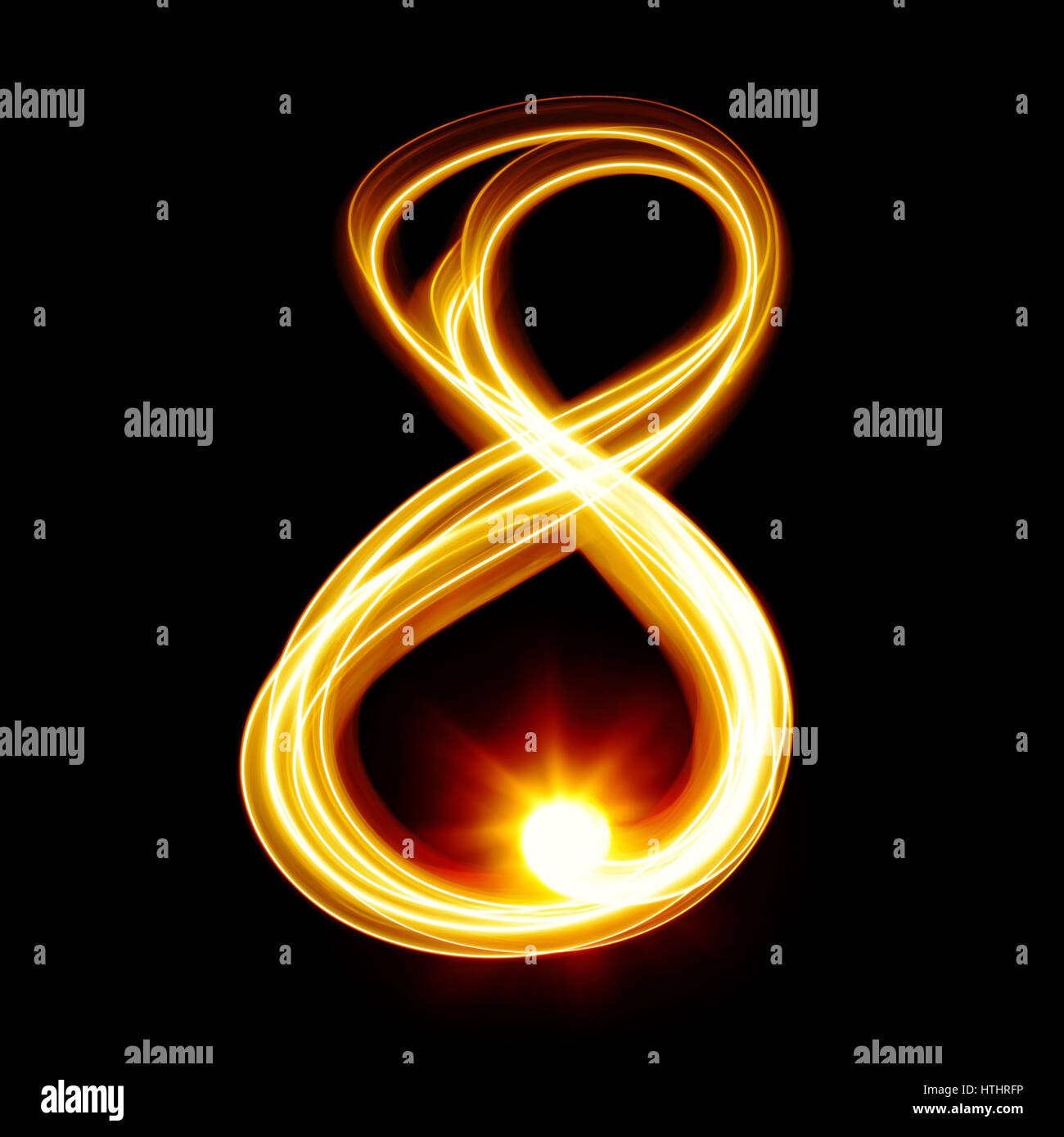 Eight - Created by light numerals over black background - Stock Image