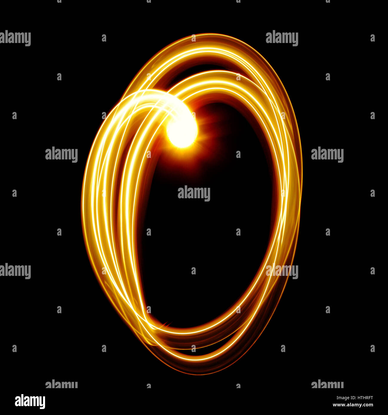 Zero - Created by light numerals over black background - Stock Image