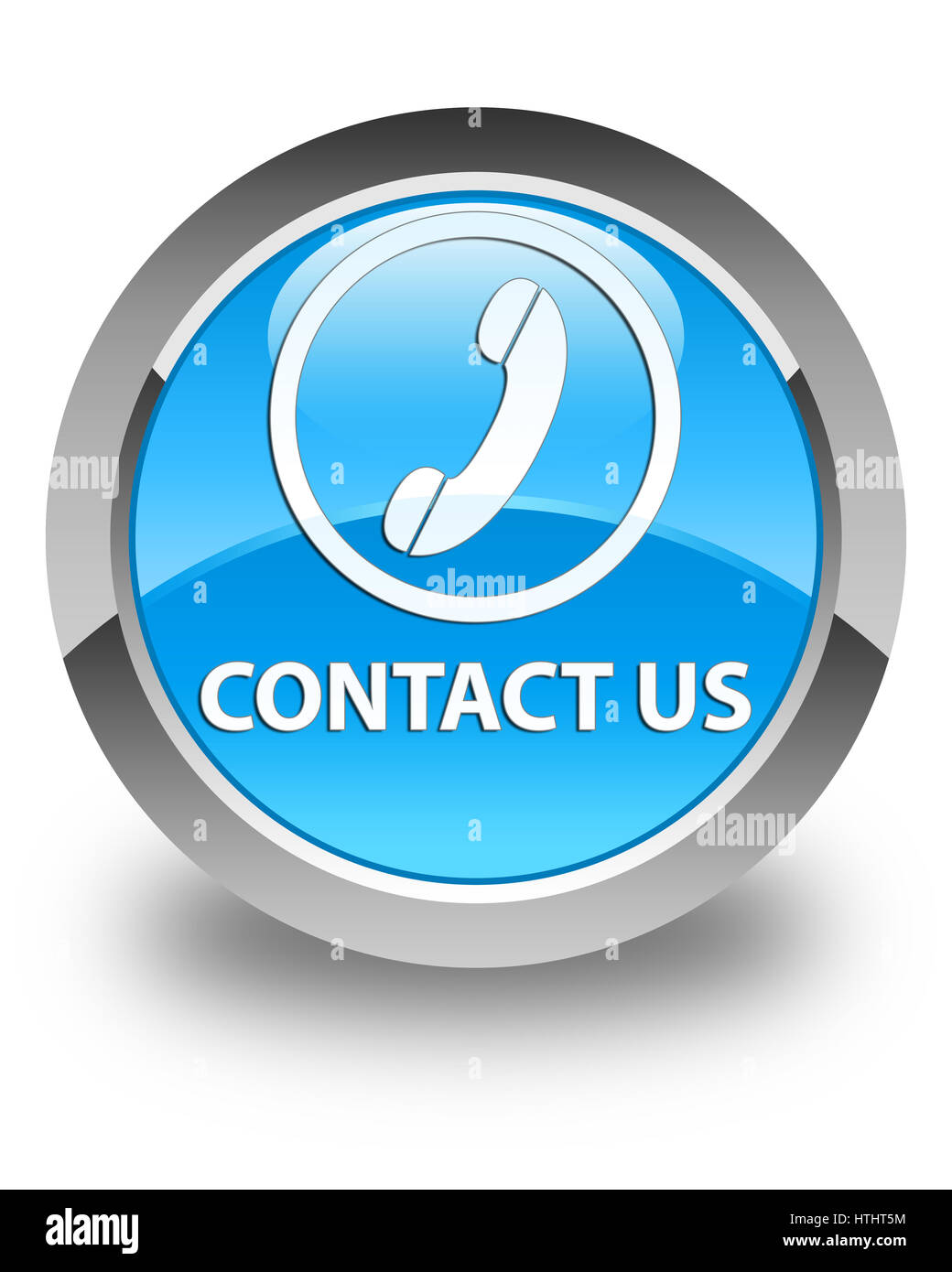Contact us (phone icon) isolated on glossy cyan blue round