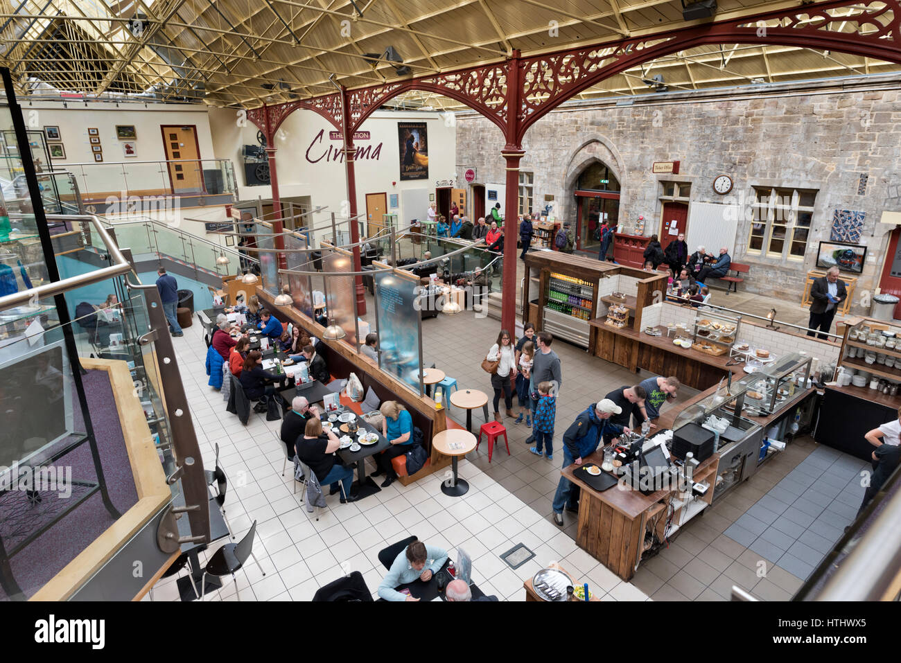 The interior of the former railway station, now a retail and entertainment complex, Richmond, North Yorkshire, UK Stock Photo