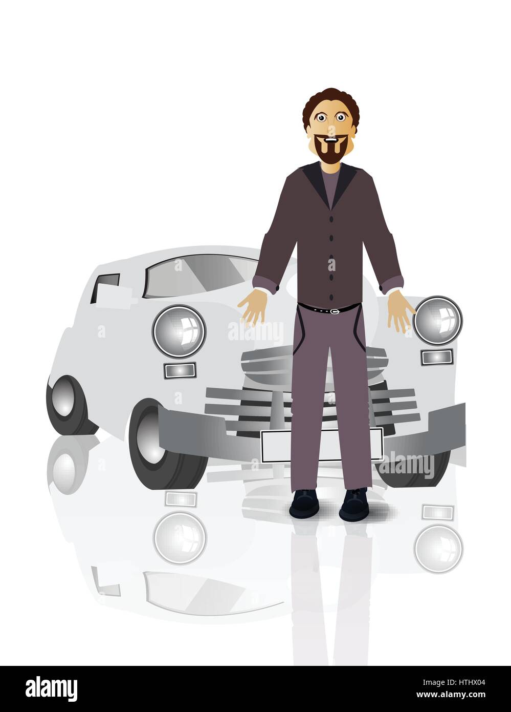 Retro car driver man on white easy to separate background for your design - Stock Vector