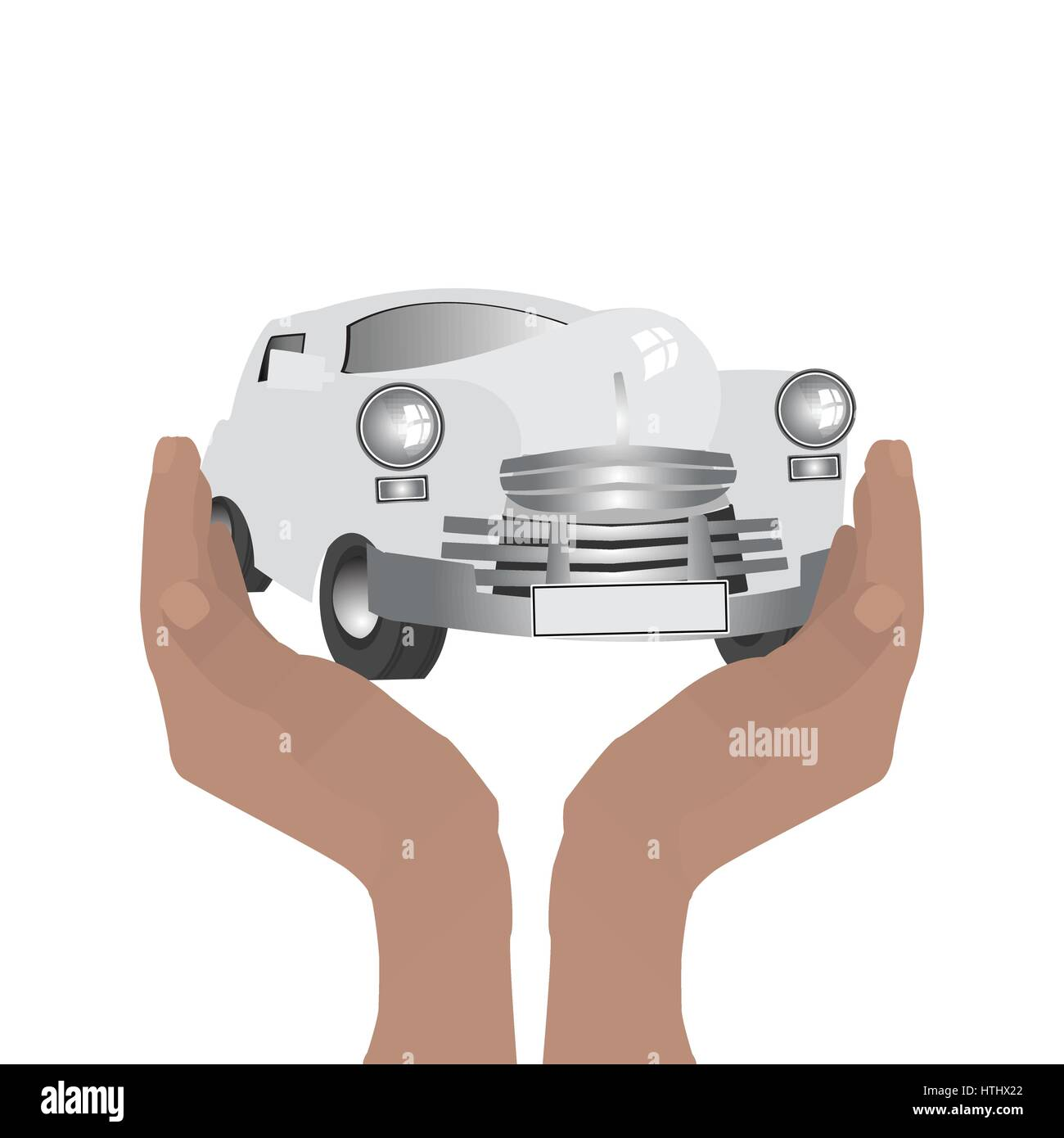 Retro car. Keep hands guard. Illustration on white easy to separate background for your design - Stock Vector
