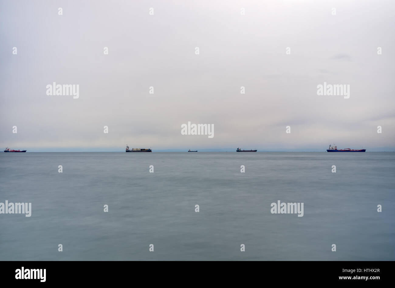 The gulf of Thessaloniki, Greece, under a cloudy sky - Stock Image