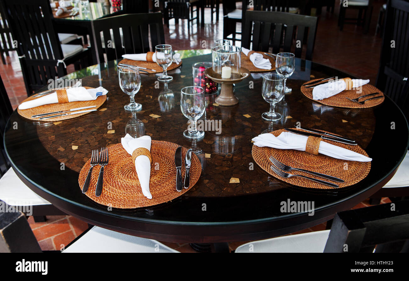 Christmas, New Year Table Setting Asian Style. Restaurant Table.