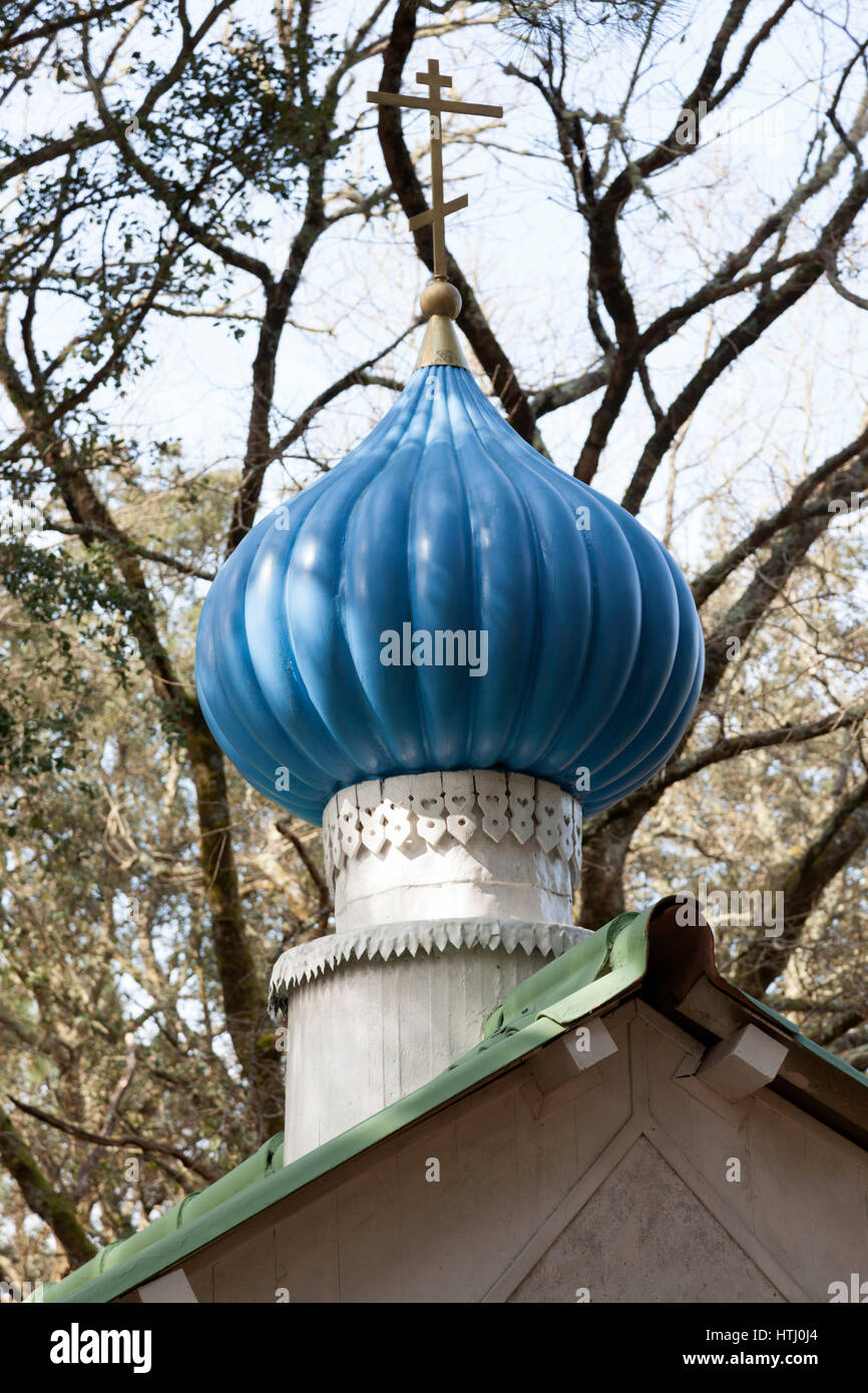 The Orthodox chapel onion-shaped dome of the Hossegor 'Sokol' camp site used by the Russian diaspora descendants - Stock Image