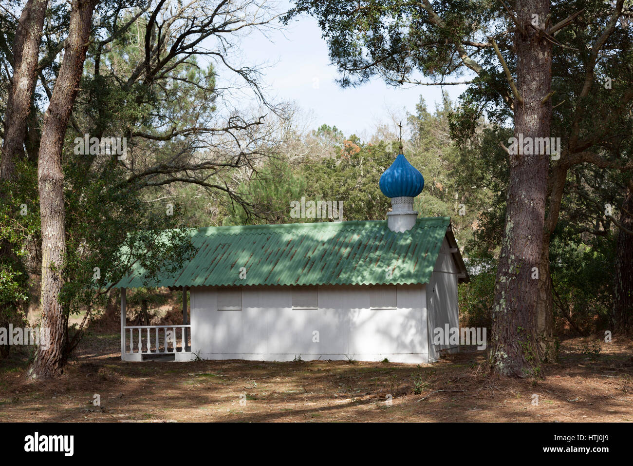 The Orthodox onion-shaped dome chapel of the Hossegor 'Sokol' camp site used by the Russian diaspora descendants - Stock Image