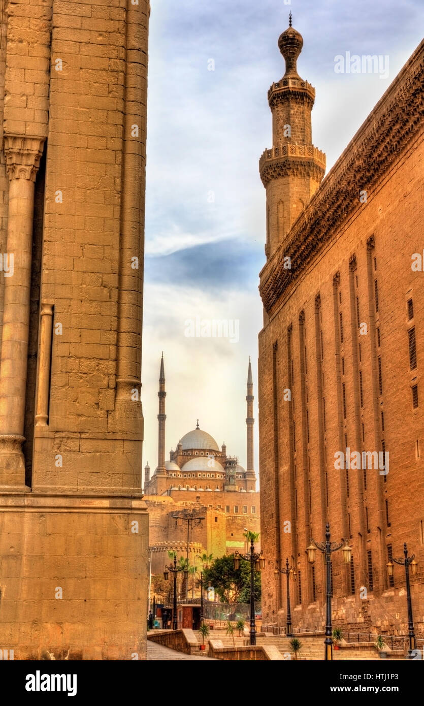 View of the Muhammad Ali Mosque between the Mosques of Sultan Hassan and Al Rifai - Cairo, Egypt Stock Photo