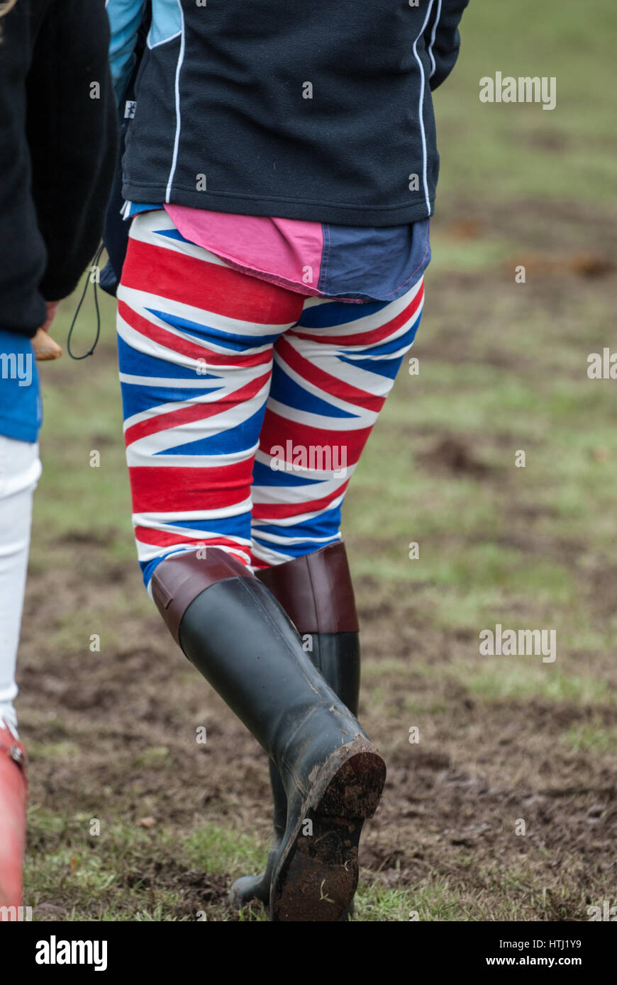 A Girl Wearing Union Flag Designed Tight Trousers Or Jodhpurs