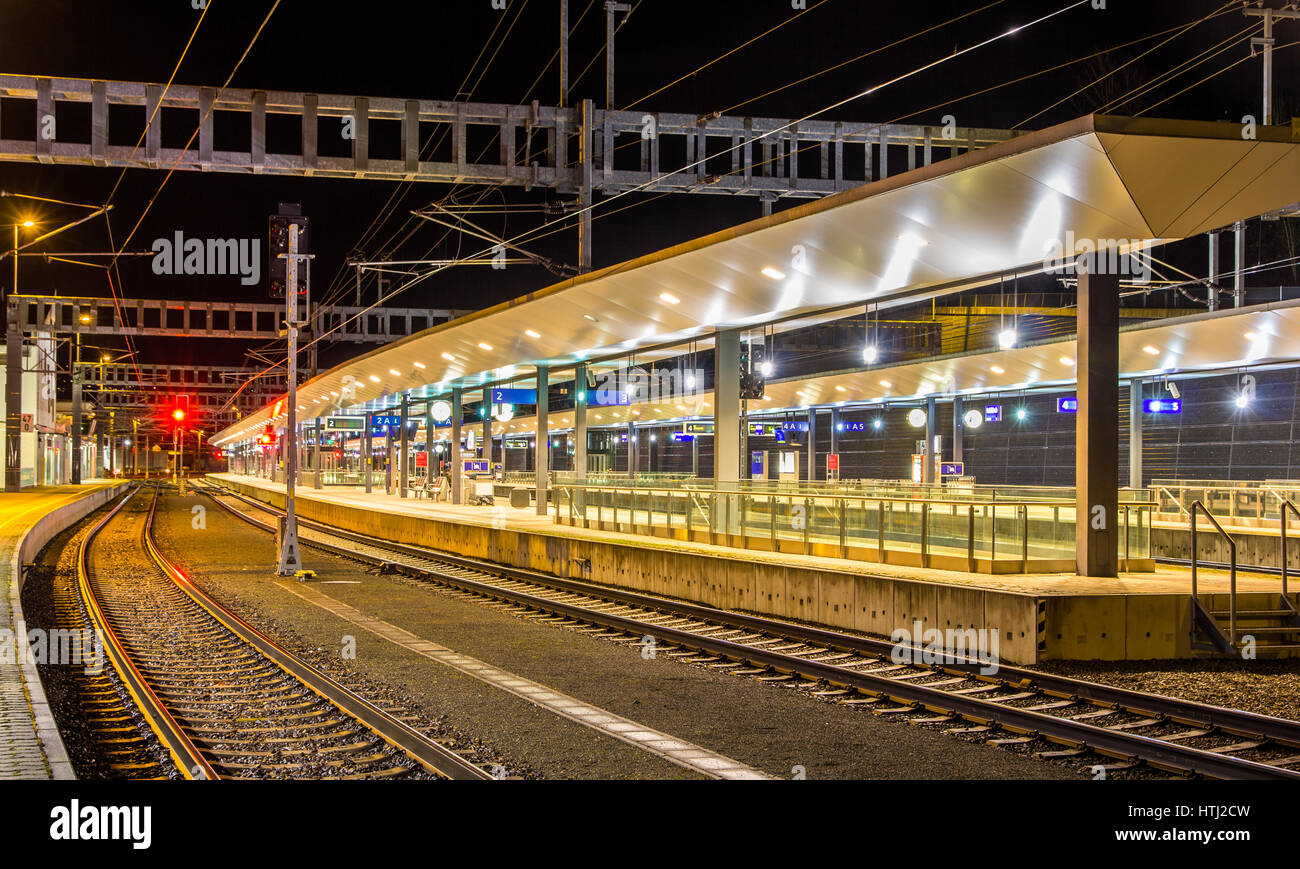 Austrian railway station Feldkirch at night - Stock Image