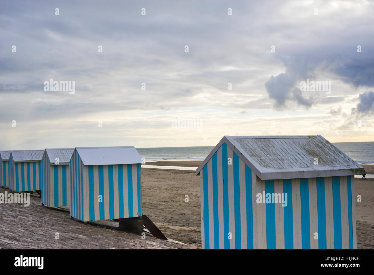 Cabins and Beach hoods on the beach of Neufchatel- Hardelot, Pas de Calais, France - Stock Image