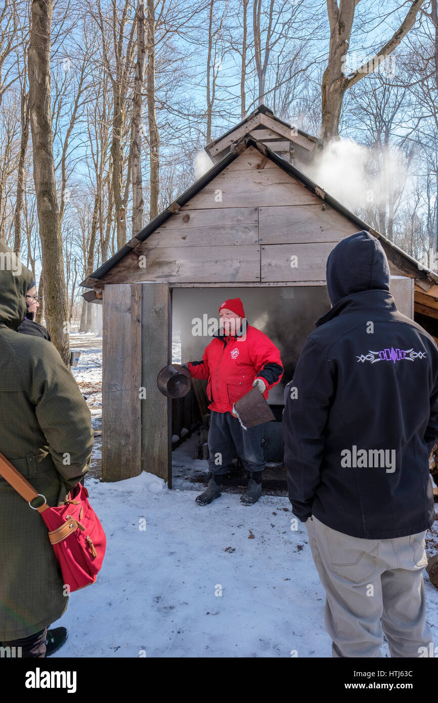 A vounteer explains how maple syrup used to be produced in front of a wood sugar shack in the Kinsmen Fanshawe Sugar - Stock Image