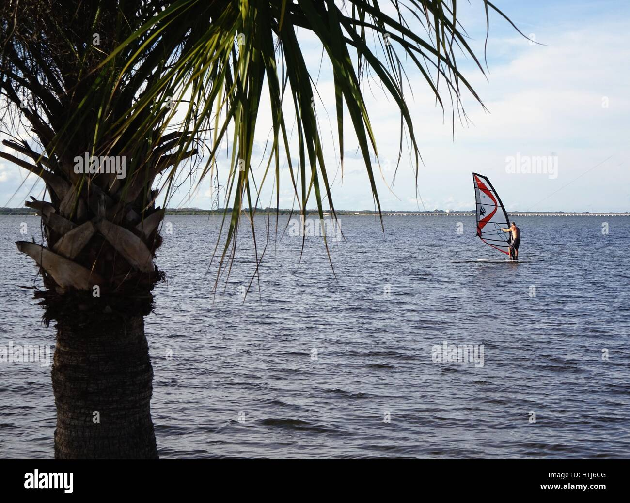 Wind surfing in the Indian River, Florida - Stock Image