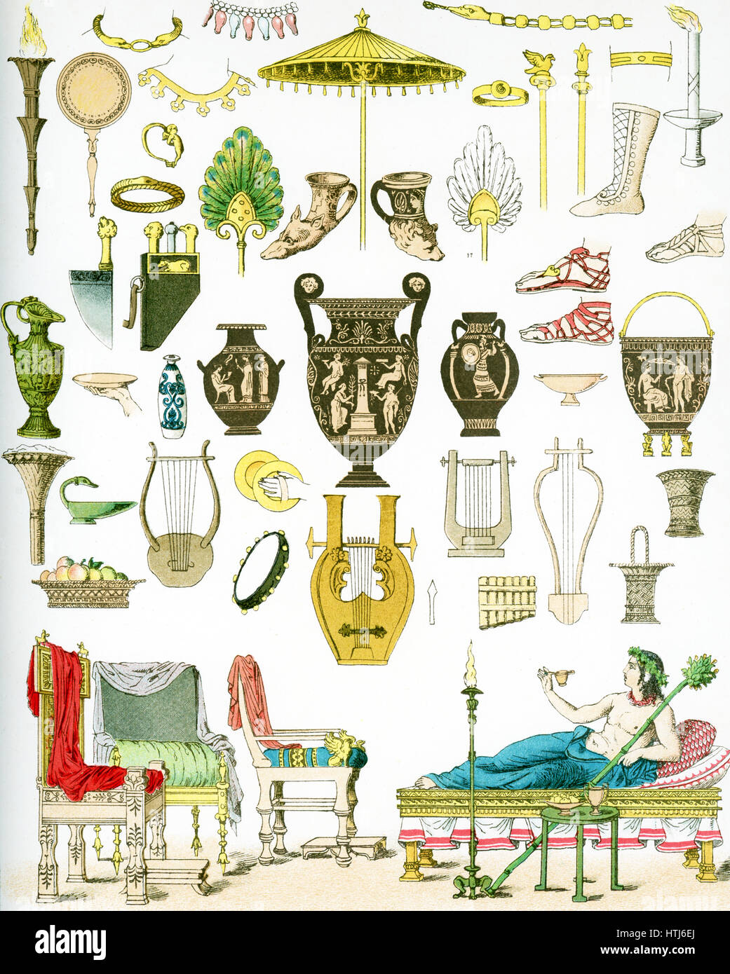 The illustration here shows ancient Greek artifacts. They are from left to right, top to bottom: flaming torch, - Stock Image