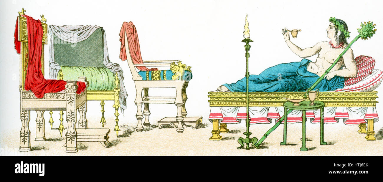 The illustration here shows ancient Greek artifacts. They are from left to right: three chairs and a couch with - Stock Image