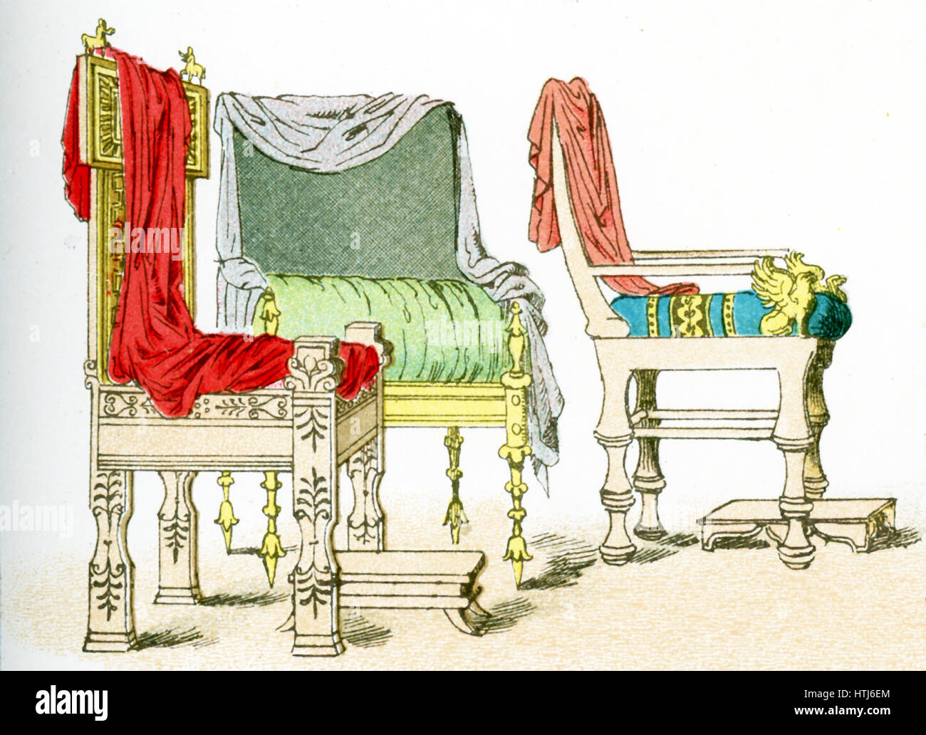 The illustration here shows three ancient Greek chairs.The illustration dates to 1882. - Stock Image