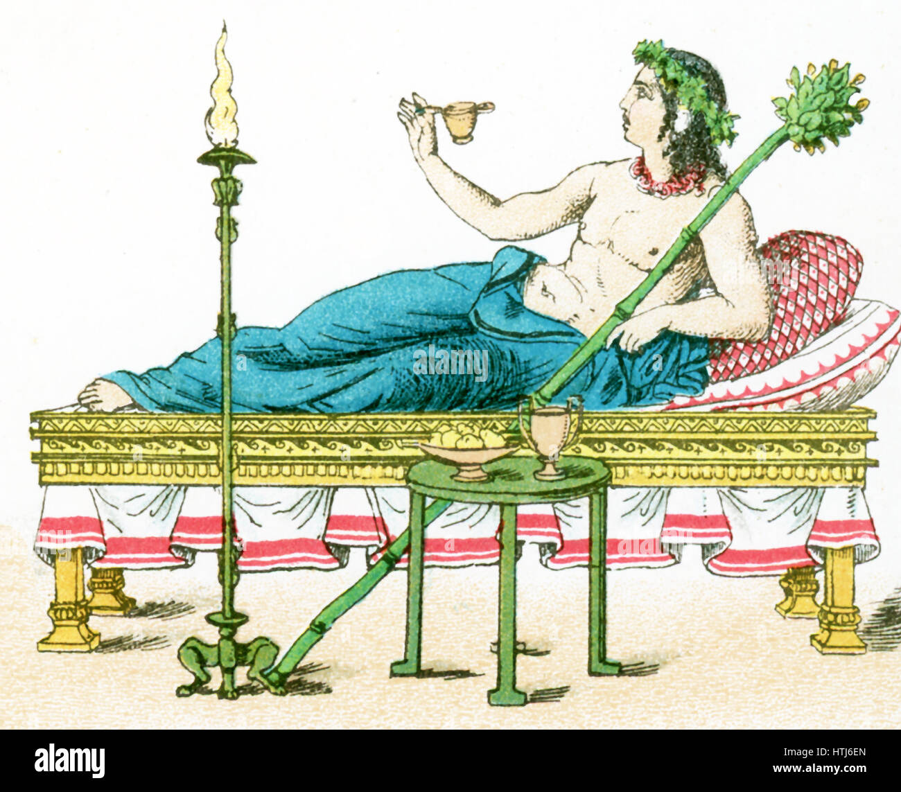 The illustration here shows an ancient Greek couch with table and candelabrum, and a flaming torch. The illustration - Stock Image