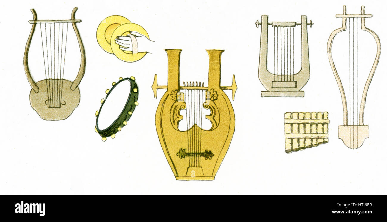 The illustration here shows ancient Greek musical instruments, inclding lyres, cymbals, a tambourine, and pan pipes. - Stock Image