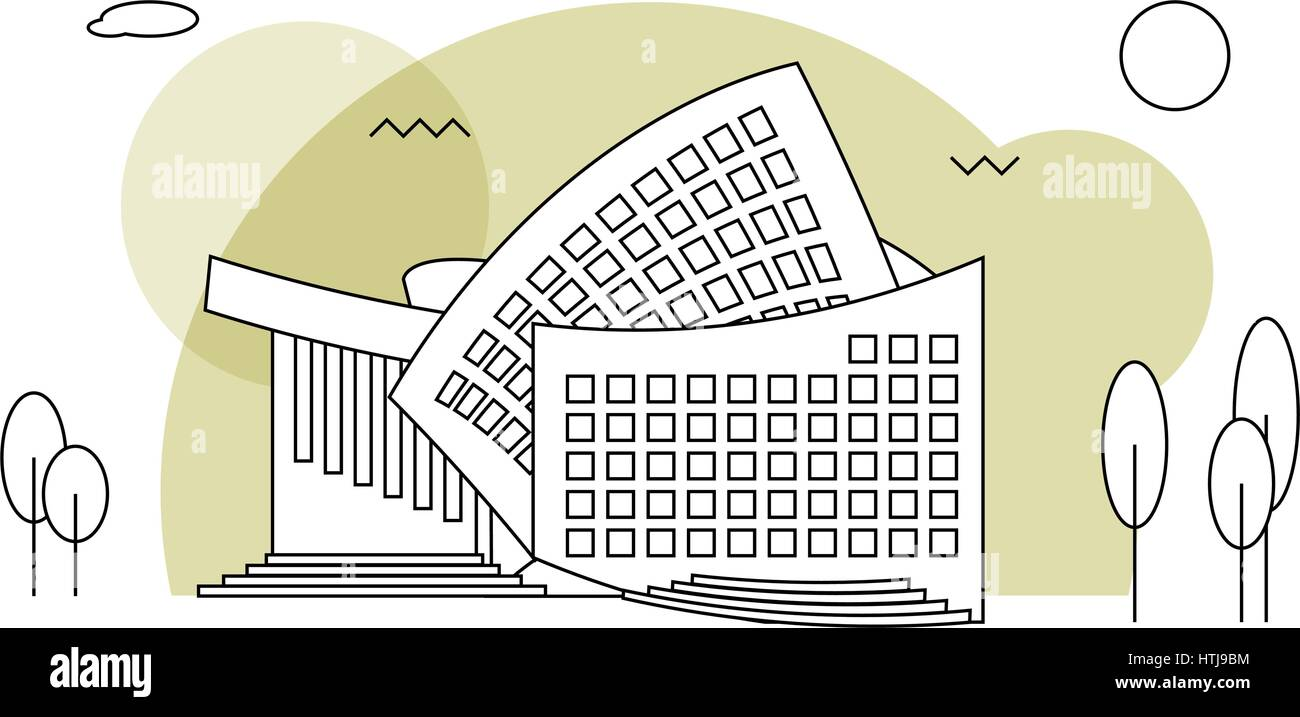 Modern concert buildings in flat style - Stock Vector