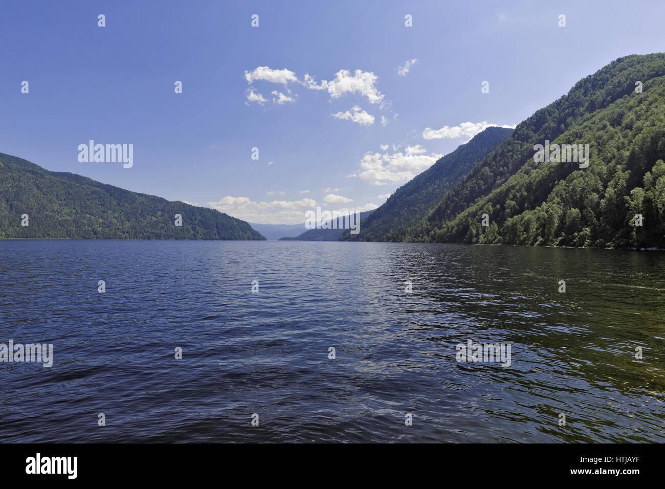 Russia, Siberia, Altai, a view of the waters of Lake Teletskoye Stock Photo