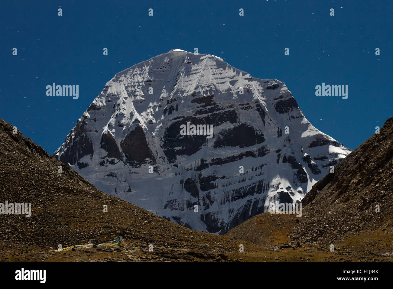 The North Face Of Mount Kailash In Moon Light A View From Dirapuk