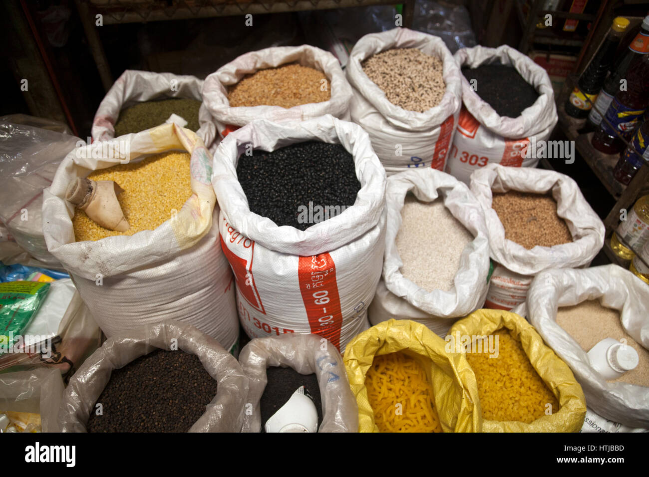 Pasta and Pulses at Psa Leu Market in Siem Reap - Cambodia Stock Photo