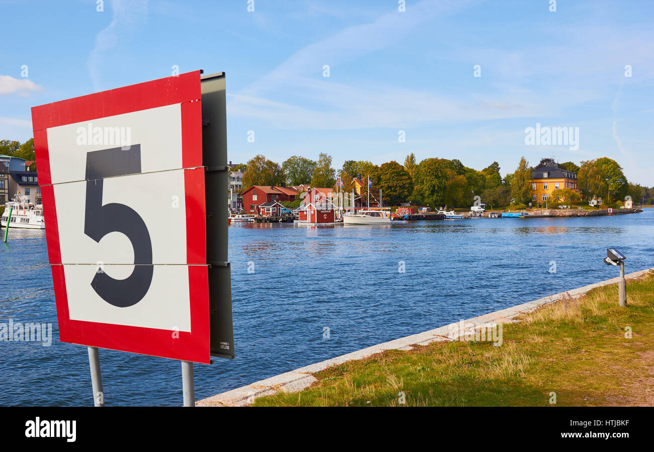 And Speed The Between Sign Stock - Photo Vaxholm Boat For 135628627 Limit Island Alamy Channel