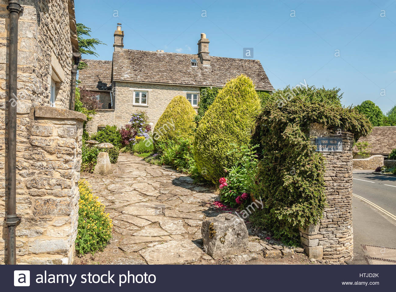 Traditional Weaver Cotswolds-Cottages in Bibury near Cirencester, South East England.| Traditionelle Cotswolds-Häuser - Stock Image