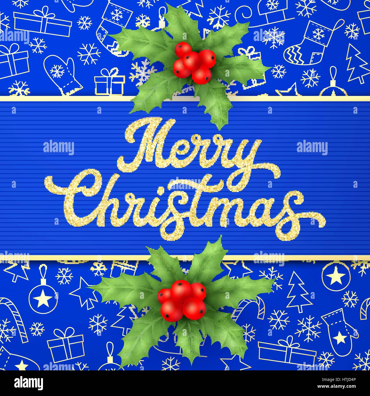 Christmas card with holly branches and glitter gold lettering on blue Xmas background. Colorful vector illustration. - Stock Image