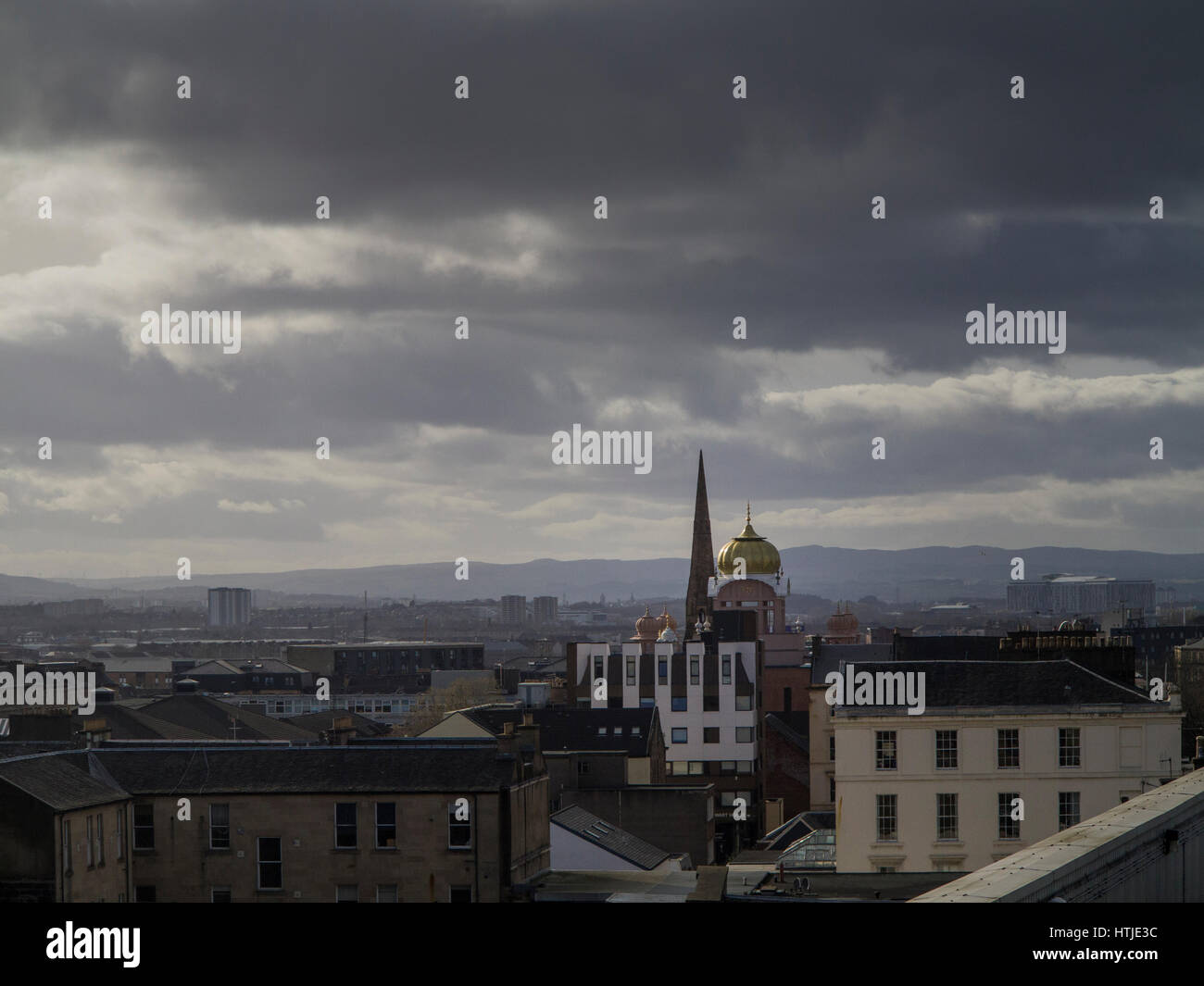 Glasgow Central Mosque and skyline - Stock Image