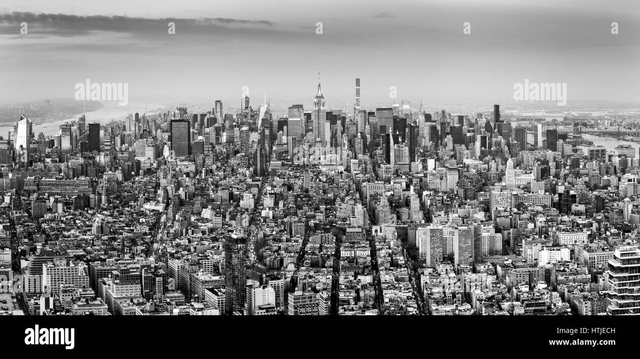 Aerial view of New York City midtown skyline in black and white Stock Photo