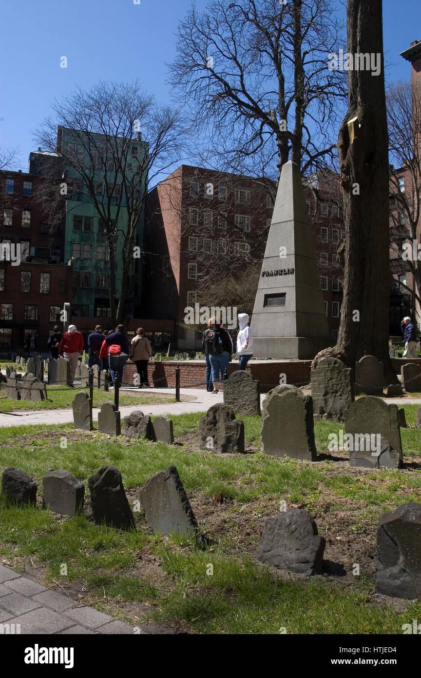 Historic Old Grannery Burial Ground in Boston, Massachusetts - Stock Image