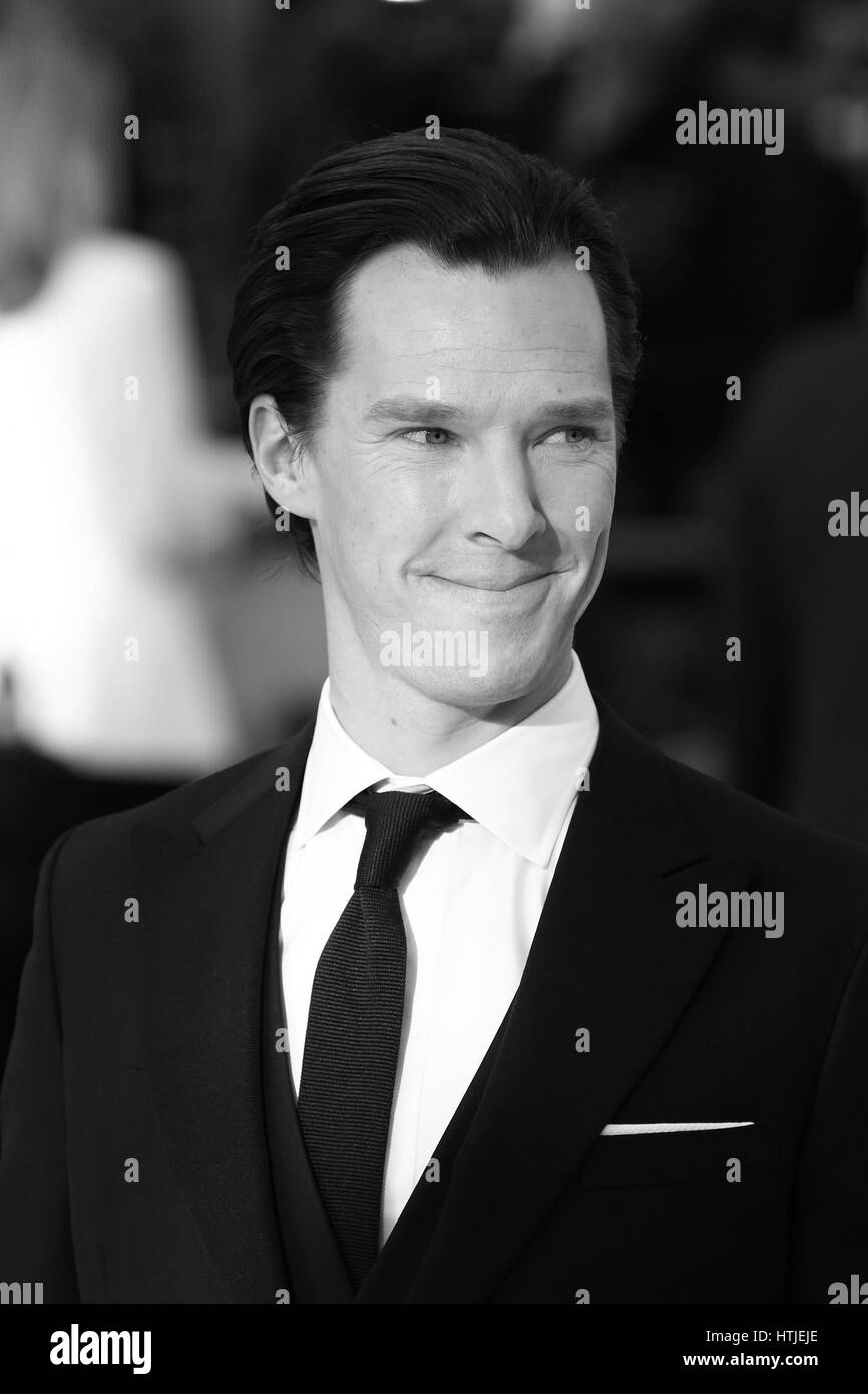 London, UK, 2nd May, 2013: Benedict Cumberbatch ( Image digitally altered to monochrome ) the UK Premiere of 'Star - Stock Image