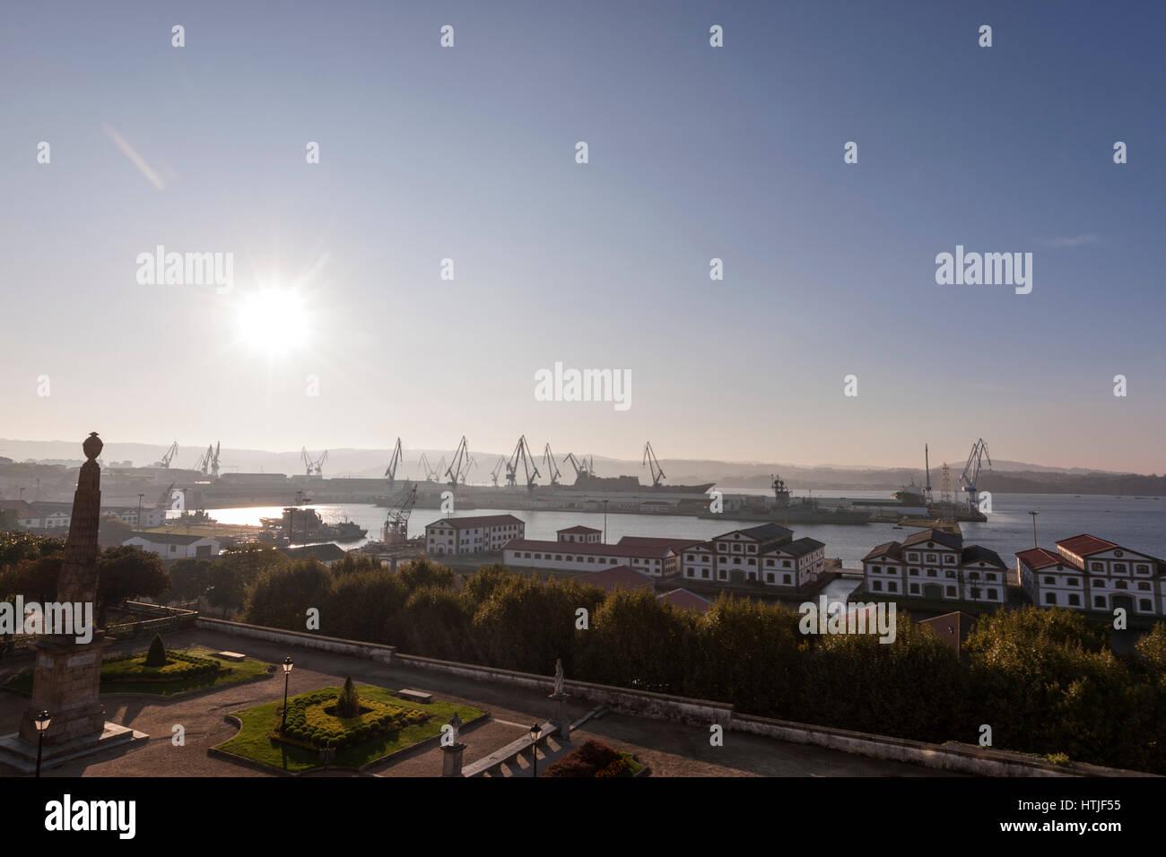 Bazan, Naval Base at sunrise, Military arsenal in Ferrol from Parador, A Coruña, Galicia, Spain - Stock Image