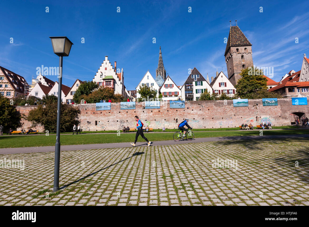 Ulm city walls, with Ulm Minster,  from the River Donau banks, Baden-Württemberg, Germany Stock Photo