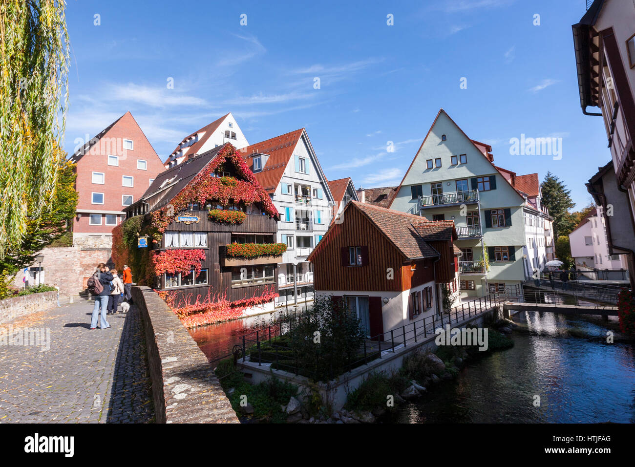 River Blau in Fischerviertel, The Fishermen's and Tanners' quarter in Ulm, Baden-Württemberg, Germany - Stock Image