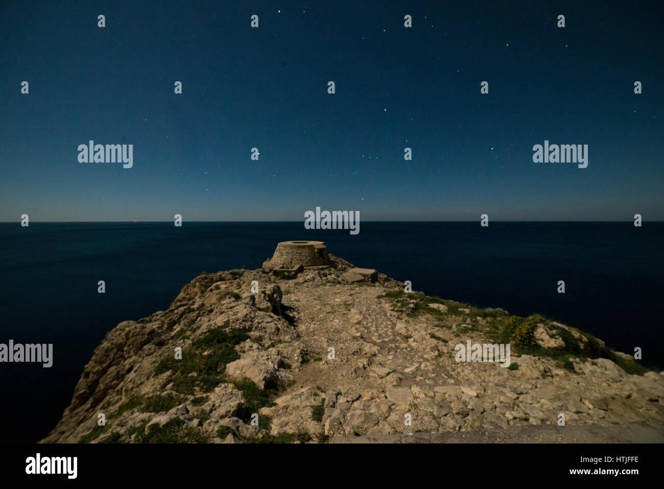 Stars in the sky over the 'Faro', in Anacapri, Capri, Naples - Stock Image