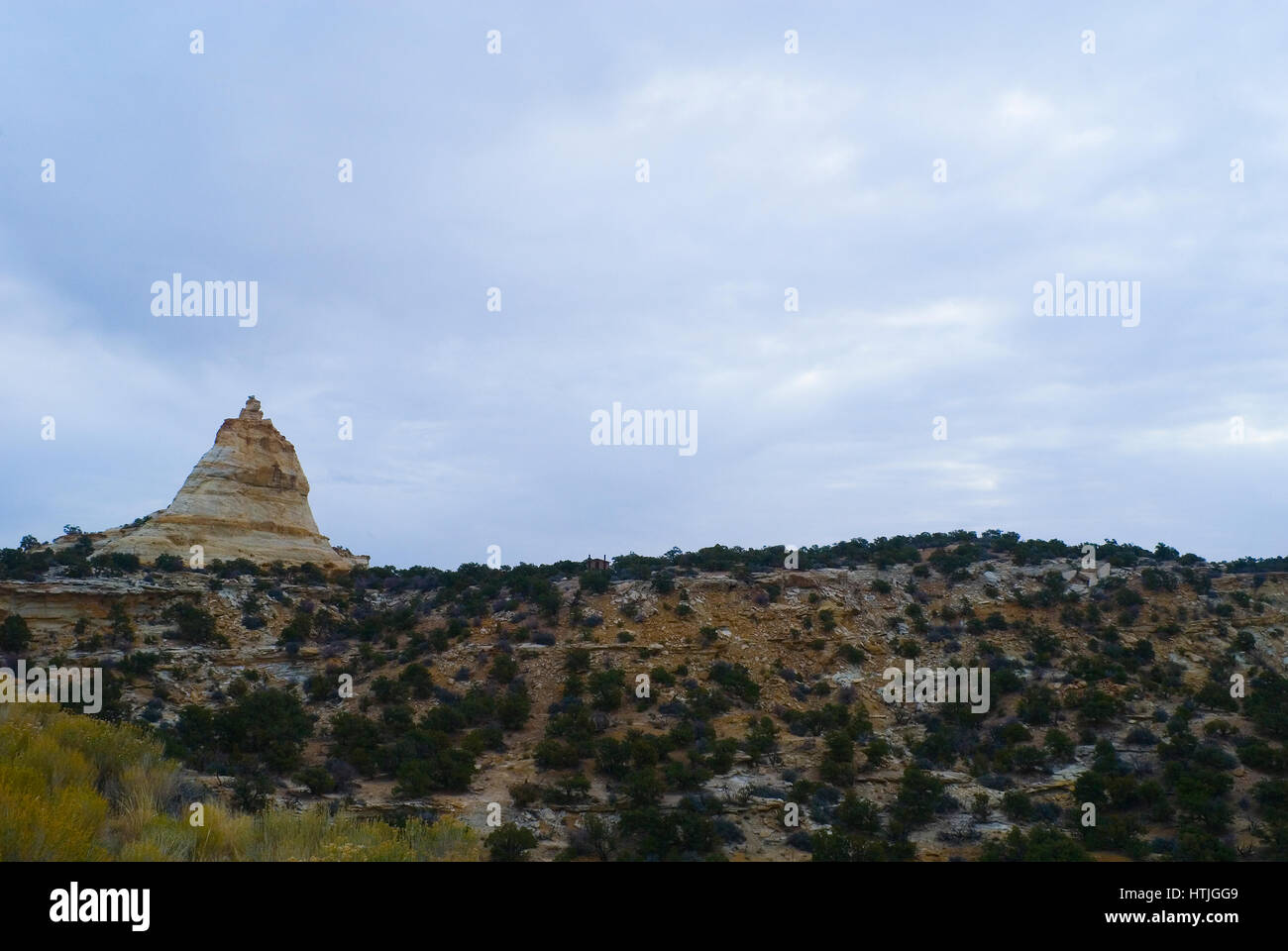 A rock formation on a plateau in Utah - Stock Image