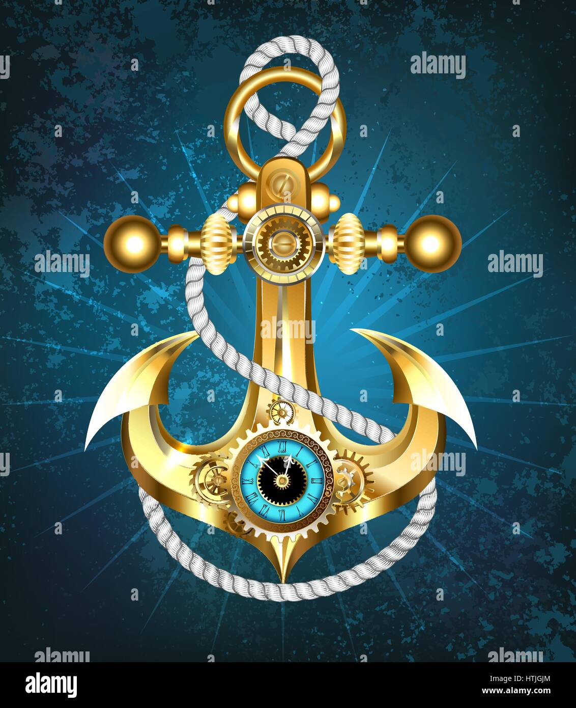Gold Anchor With A White Rope And Clock On Turquoise Background Steampunk