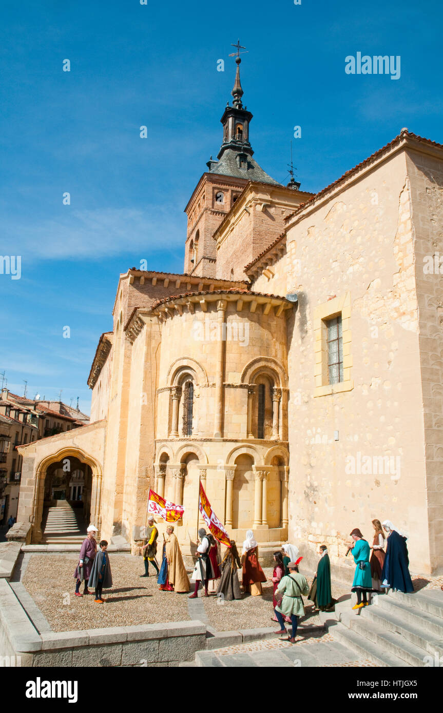 San Martin church and medieval performance. Segovia, Castilla Leon, Spain. - Stock Image